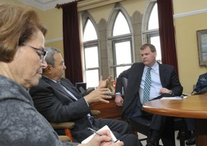 Foreign Affairs Minister John Baird in a meeting with Israel's Minister of Defence and Deputy Prime Minister, Ehud Barak last week in Canada discussing the regional security situation in the Middle East