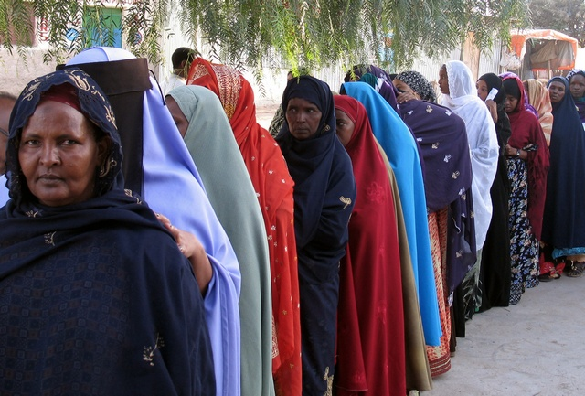 Women line up to vote in Hargeisa during first multiparty parliamentary elections in breakaway Somaliland