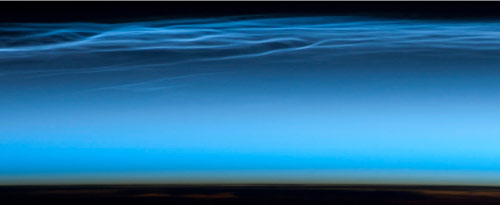 """Noctilucent clouds, also known as """"night shining"""" clouds imaged by Chris Hadfield. Image credit: NASA"""