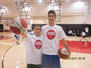 Amirali Takhmid (right) is 14 years old and Rizvan Nirvala (left) is 9 years old. Both looked forward to the basketball camp to improve their dribbling skills. They are both fans of LeBron James, while Rizvan also appreciates Michael Jordan.