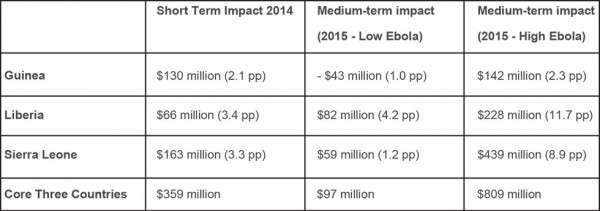 Estimates of impacts on output, individually and in aggregate, in the short and medium term