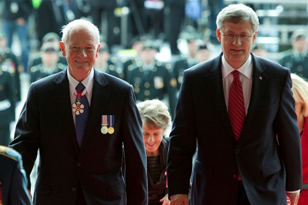 Prime Minister Stephen Harper and Governor General Designate David Johnston enter the Parliament of Canada on October 1st, 2010.