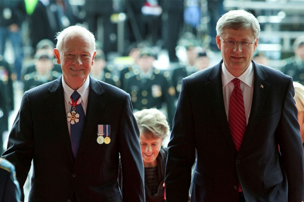 Prime Minister Stephen Harper and Governor General Designate David Johnston enter the Parliament of Canada on October 1st, 2010  					         Photo Credit: PMO
