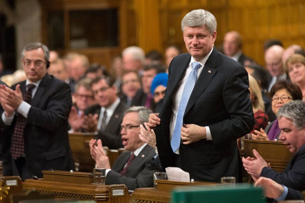 Prime Minister Stephen Harper votes on the Government's motion in the House of Commons countering the threat of terrorism at home and abroad by extending and expanding Canada's mission to degrade  .the so-called Islamic State of Iraq and the Levant  PMO photo by Jason Ransom