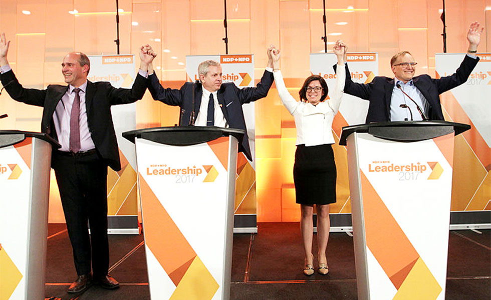 The candidates: from left, Guy Caron, Charlie Angus, Niki Ashton, and Peter Julian. The Hill Times photograph by Sam Garcia