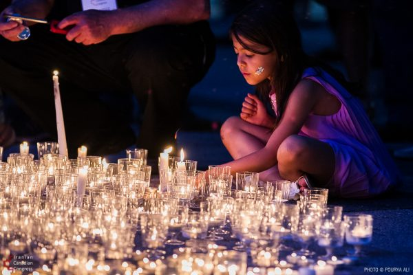 Candlelight Vigil for Victims of Tehran Attacks at Mel Lastman Square, Toronto