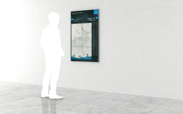 Example of PATH Map Panel concept in a PATH hallway. (Illustration: Toronto Financial District Business Improvement Area)