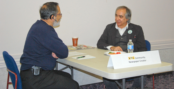 """Salam Toronto's Mohsen Taghavi, one of the 10 """"human books"""" in Vaughan Public Libraries' human library collection, shared with his reader Sabi Ahsan about how he launched the first weekly community Persian-English newspaper in Canada"""