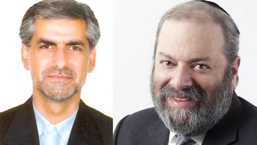 کامبیز شیخ حسنی کاردار سفارت ایران در اتاوا (چپ)، شیمون فوگل مدیر مرکز امور اسرائیل و یهودیان - سمت راست