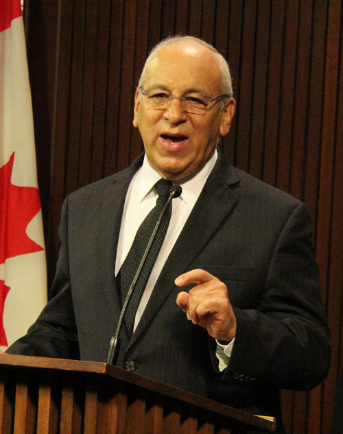Thornhill Conservative MPP Peter Shurman at the press conference last Thursday, November 24th, at Queen's Park, a day before tabling the bill. Shurman spoke to Salam Toronto on Tuesday and said he believes the only way the strike will get settled is with provincial intervention and that there is little time to do so since legislature will be rising in a week for winter break. (Photo by Salam Toronto)