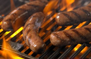 Sheep intestines are used as casings for the sausages and the firmer the casing, the better for cooking.
