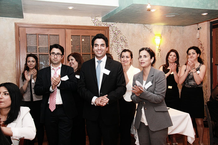 The organizers of the Iranian Legal Professionals of Ontario (ILPO) networking event from left to right: Shiva Khatibi Sepehr (law student), Kaveh Shahrooz (lawyer), Elmira Moghadam (law student), Behrouz Amouzgar (lawyer and one of the founding members of ILPO), Yasna Beheshti (law student), Atoosa Mahdavian (lawyer and one of the founding members of ILPO), Vafa Nematy (law clerk), Mahsa Pezeshki (law clerk) - Thursday May 31, 2012, Zaffron Resturant (Photo by Salam Toronto)
