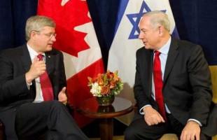 استفن هارپر نخستوزیر کانادا (سمت چپ) در دیدار با نتانیاهو نخست وزیر اسرائیل