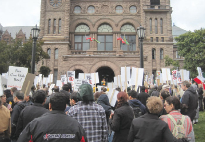 Reports said about 500 people were rallied outside of Queen's park on October 6 as part of an international day of action on the 11th anniversary of the war against Afghanistan.