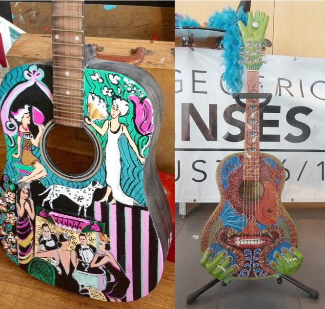 گیتارهای رنگ شده که برای فروش در فستیوال «حواس پنجگانه» موجود خواهند بود.