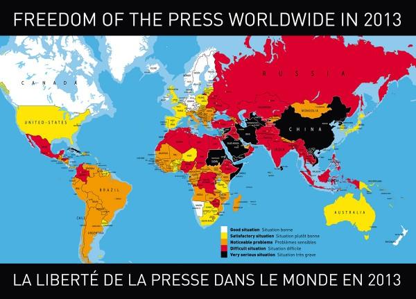 نقشه آزادی مطبوعات در سال 2013  در دنیا تهیه شده توسط گزارشگران بدون مرز