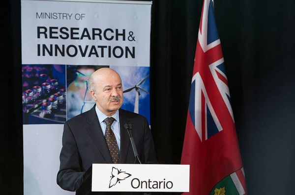Ontario-Minister-of-Research-and-Innovation-Reza-Moridi-announcing-renewed-investment-in-the-Ontario-Research-Fund
