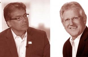 دیو بارو شهردار ریچموندهیل (سمت راست)، کارمن پیرلی عضو شورای شهر ریچموندهیل از حوزه 2 و کاندیدای شهرداری ریچموندهیل در انتخابات 27 اکتبر