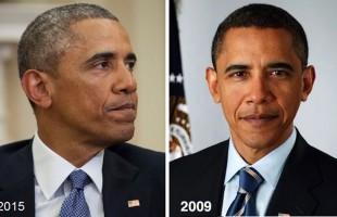 6 سال گذر عمر در کاخ سفید، سمت چپ در 7 ژانویه  2015 در دفتر کارش در کاخ سفید