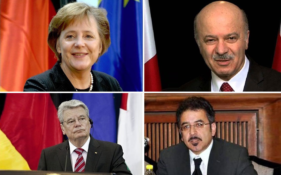 از راست به چپ و از بالا به پایین: دکتر مریدی عضو پارلمان انتاریو، آنجلا مرکل صدراعظم آلمان،  احسان جعفری رئیس جامعه ایرانیان در آلمان و یوآخیم گاووک رئیس جمهور آلمان
