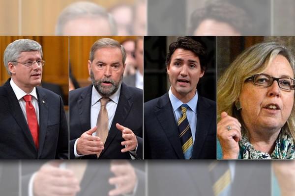 از راست: الیزابت می، جاستین ترودو، توماس مالکر و استفن هارپر رهبران چهار حزب عمده کانادا