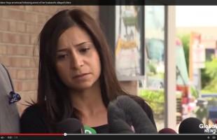 رویا پارسی در کنار وکیلش جفری پولاک در خارج دادگاه. (عکس برگرفته از ویدیوی سایت خبری گلوبال)
