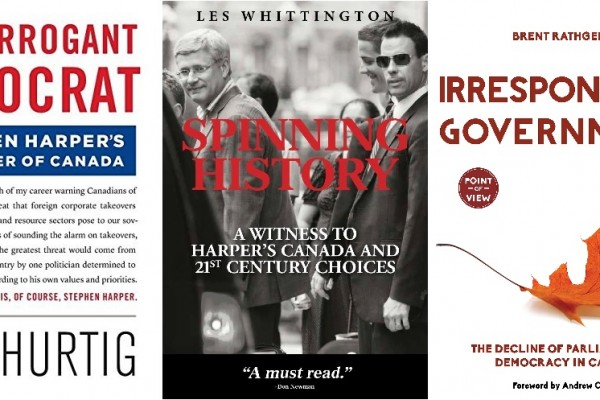 روی جلد ۳ کتابی که اخیرا در مورد استفن هارپر نخست وزیر کانادا بچاپ رسیده است