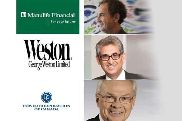 (سمت چپ به ترتیب از بالا): 3 شرکت بزرگ کانادا با بالاترین درآمدها در سال 2014  (سمت راست از بالا): جرالد شوارتز با 87/9 میلیون دلار،  ندیر محمد با 26/8 میلیون دلار و مایکل ویلسون با 23/8 میلیون دلار،  سه مدیرعامل با بالاترین درآمد در سال 2013