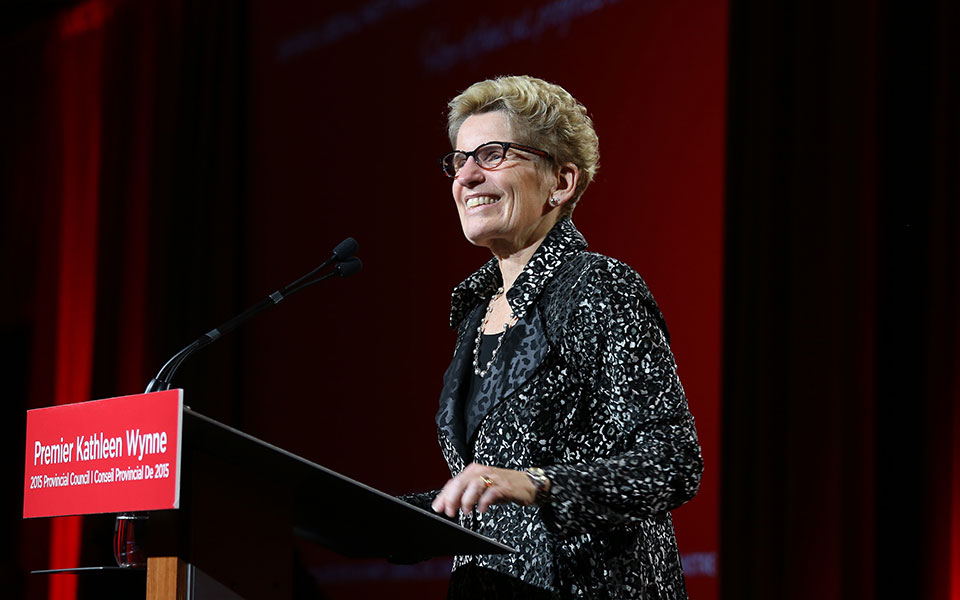 Premier Kathleen Wynne speaking at the Ontario Liberal Party's Provincial Council on November 28, 2015. (Photo: flickr - Ontario Liberal Party)