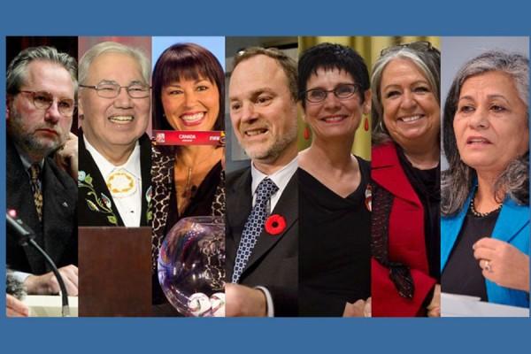 ۷ سناتور پیشنهادی ترودو برای انتصاب به سنای کانادا: (از راست) رتنا امیدوار (از انتاریو) مددکار و فعال اجتماعی، فرانسیس لنکین (Frances Lankin)  (از انتاریو) عضو سابق مجلس و کابینه حزب نیودمکرات انتاریو به رهبری باب ری، Raymonde Gagne (از مانیتوبا) ، رئیس دانشگاه، کوشا در زمینه فراهم کردن موقعیتهای تحصیلی برای فرانسوی زبانها، آندره پِرَت (Andre Pratte) (از کبک) نویسنده و روزنامه نگار، و بنیانگذار موسسه فدرالیسم در کبک، Chantal Petitclerc (از کبک)، برنده 20 مدال المپیک معلولین، قاضی موری سنت کلیر (از مانیتوبا) اولین قاضی بومیان کانادا از مانیتوبا و تهیه کننده گزارش «سیستم مدارس مسکونی» در سال گذشته، پیتر هاردر (از انتاریو) 16 سال معاون وزیر و 4 سال نماینده رسمی نخست وزیر در 3 اجلاس موسوم به G8
