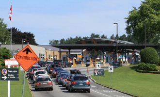 Cars approaching Canada Customs at Douglas, British Columbia from Blaine, Washington
