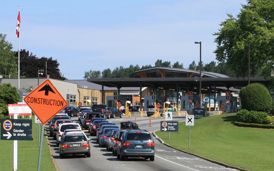 Cars approaching Canada Customs at Douglas, British Columbia from Blaine, Washington