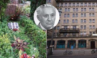 عکس سمت چپ آرامگاه مجتبی بزرگ علوی و عکس سمت راست آپارتمان محل زندگی  وی در برلین.