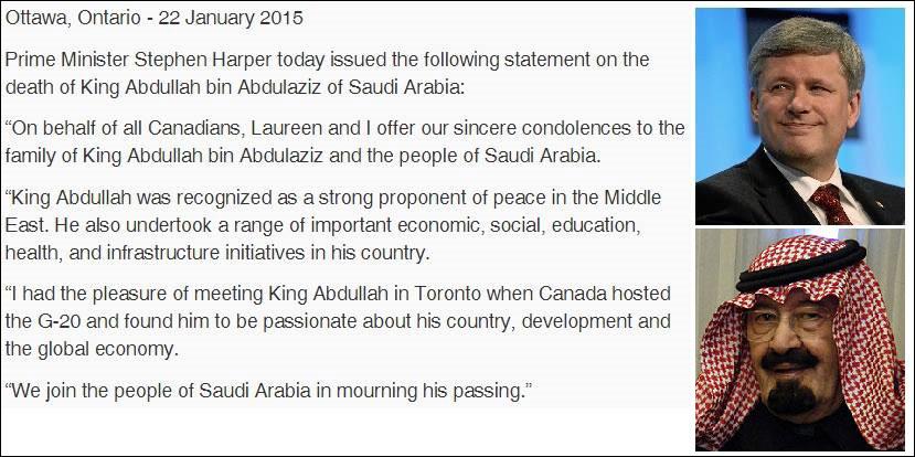 بیانیه رسمی استفن هارپر نخست وزیر سابق محافظه کار کانادا به مناسبت درگذشت ملک عبداله بن عبدالعزیز پادشاه عربستان در سال گذشته