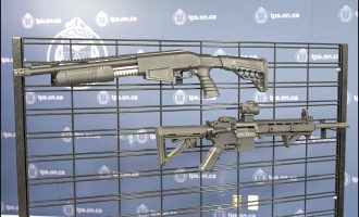 A Dagger Sap6 12-gauge shotgun and Anderson AM 15-M4 rifle seized by police.  Photo: Toronto Police Service