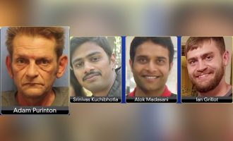 آدام پورنیتون  51 ساله  فریاد می زند: «از مملکت من خارج شوید»  و بعد به دو مهندس هندی  که هر دو 32 ساله بودند شلیک می کند از راست: یان گریلات 24 ساله که قصد پیشگیری داشته مجروح شده، آلک ماداسانی  و سرینیواس کوچیبوتلا  مهندس هندی که کشته شد