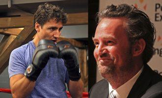 ماتیو پری  Matthew Perry ستاره سابق سریال تلویزیونی Friends  (راست) - جاستین ترودو (چپ)
