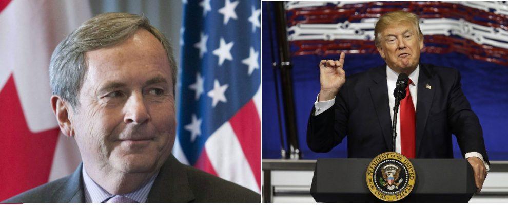 دانلد ترامپ رئیس جمهور آمریکا و دیوید مکناتون سفیر کانادا در آمریکا