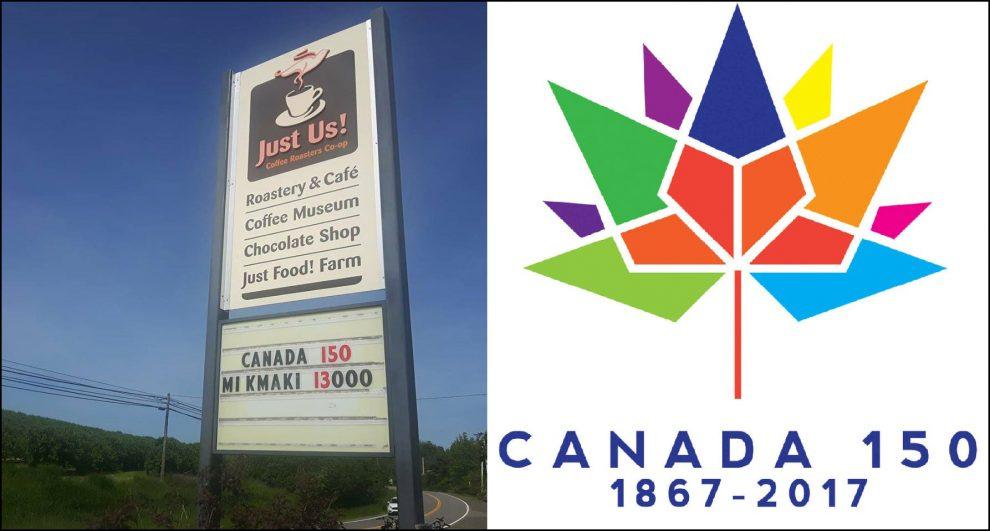 نواسکوشیا و چندین استان شرقی کانادا در سرزمین های بومی میکمگ (Mi Kmag) موسوم به میکمکی (Mi Kmaki) واقع شده است که تاریخ 13 هزار ساله دارد. سایت رسمی نواسکوشیا یک کافی شاپ (Just Us) در نواسکوشیا عبارت کانادا 150 می کاکی 13000 را اخیرا به زیر تابلو تبلیغاتی کنار جاده خود اضافه کرده.