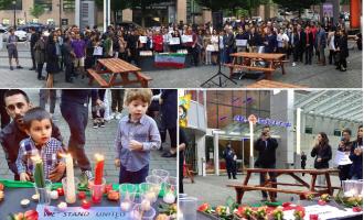 تصویری از مراسم احترام به جان باختگان حمله تروریستی تهران در ونکوور (عکسها از صفحه فیس بوک کنگره ایرانیان کانادا)