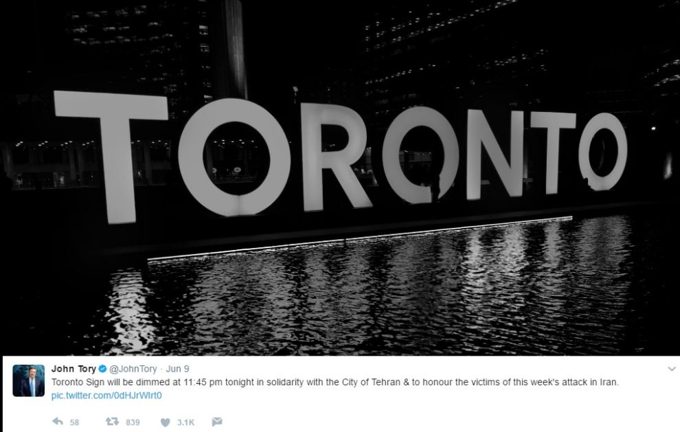 جان توری شهردار تورنتو: Toronto Sign will be dimmed at 11:45 pm tonight in solidarity with the City of Tehran & to honour the victims of this week's attack in Iran. pic.twitter.com/0dHJrWIrt0