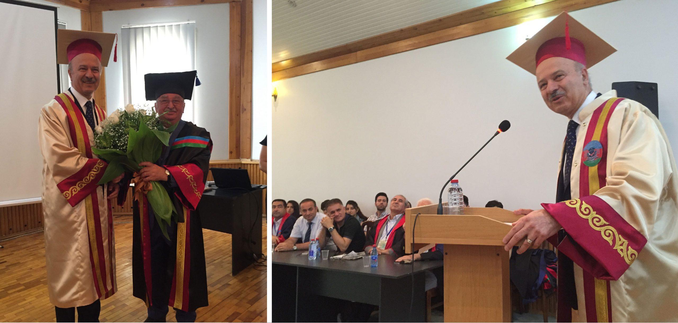 اهدای دکترای افتخاری از طرف دانشگاه «ادلار یوردی» جمهوری آذربایجان و سخنان دکتر مریدی به این مناسبت