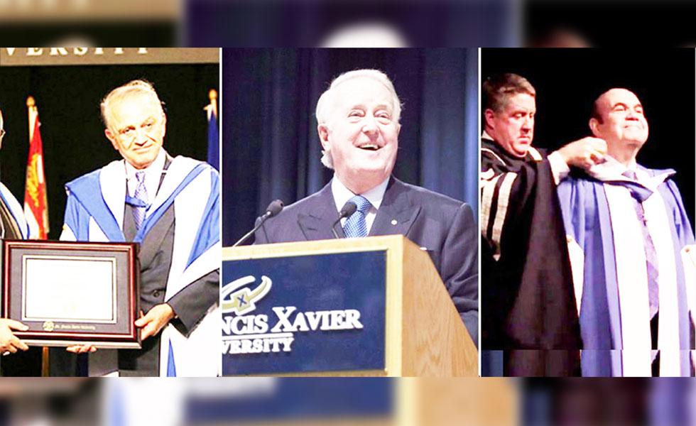 از راست: ویکتور دداله، کنت مک دونالد رئیس دانشگاه فرانسیس زاویر، برایان مالرونی نخست وزیر سابق کانادا و رفیک سید