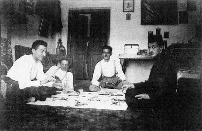 From right: Sadeq Hedayat, Mozayeni -friend Issa Hedayat (brother), Mohammad Hossein Adib -cousin
