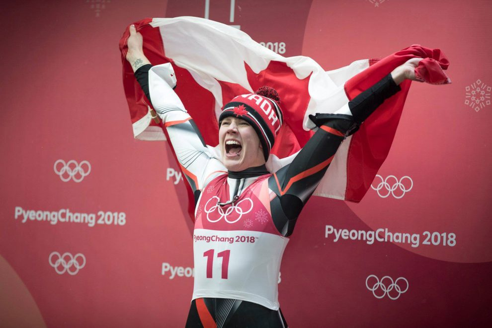 Alex Gough won Canada's first-ever Olympic medal in luge (bronze) at PyeongChang 2018.