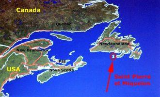 جزایر فرانسوی  St-Pierre-Miquelon  درست در مجاورت سواحل جنوبی نیوفاندلند کانادا است