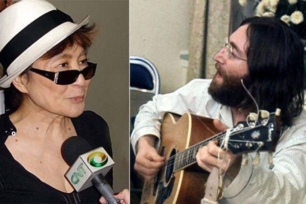 راست: جان لنون در خال نواختن گیتار- یوکو اونو همسر جان لنون