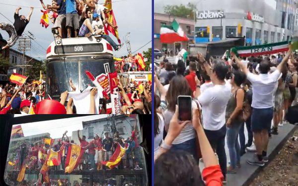 راست: طرفداران ایران و چپ: طرفداران اسپانیا
