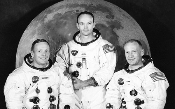 Left to right: Neil Armstrong, Michael Collins, Buzz Aldrin