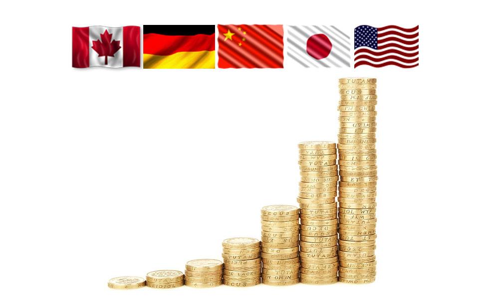 کشورهایی چون فرانسه، هنگ کنگ، بریتانیا، سوئیس و ایتالیا از نظر تعداد ثروتمند بعد از کانادا قرار دارند.
